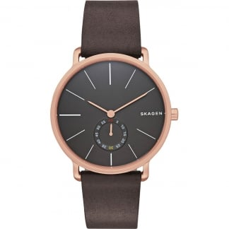 Gent's Rose Gold Hagen Brown Strap Watch