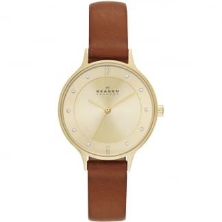 Ladies Anita Brown Leather Quartz Watch SKW2147