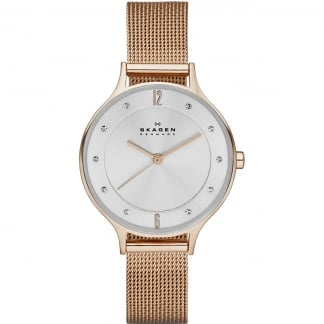 Ladies Anita Brown Rose Gold Mesh Watch SKW2151
