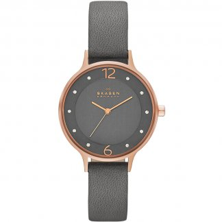 Ladies Anita Leather Stone Set Watch SKW2267