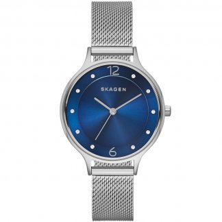 Ladies Anita Steel Mesh Blue Dial Watch