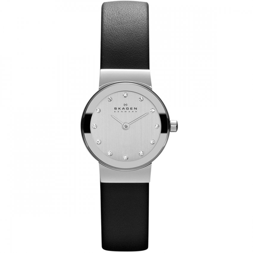 Skagen Ladies Freja Black Leather Swarovski Set Watch 358XSSLBC