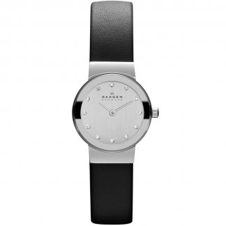 Ladies Freja Black Leather Swarovski Set Watch