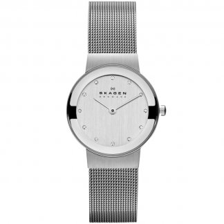 Ladies Freja Silver Tone Mesh Bracelet Watch