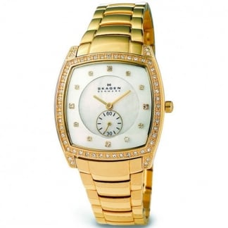 Ladies Gold Stone Set Mother of Pearl Dial Watch 961SGXG