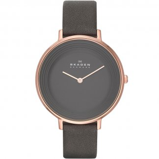 Ladies Rose PVD Ditte Watch With Grey Leather Strap