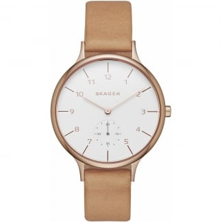 Ladies Rose PVD Tan Leather Anita Watch