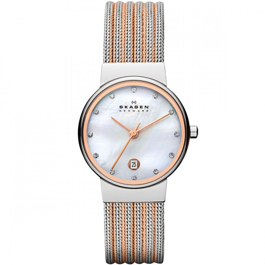 Skagen Ladies Stone Set Two Tone Ancher Watch 355SSRS