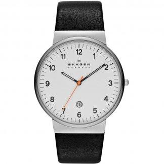 Men's Ancher Slim Black Leather Watch SKW6024