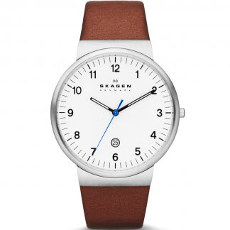 Men's Ancher Slim Brown Leather Watch SKW6082