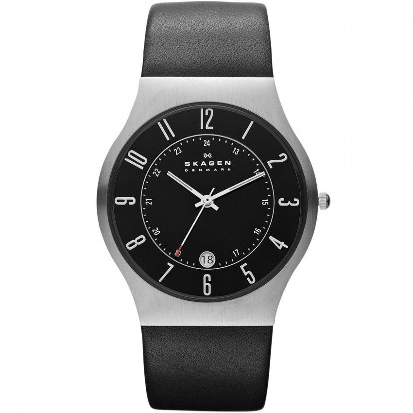 Skagen Men's Grenen Black Leather Quartz Watch 233XXLSLB