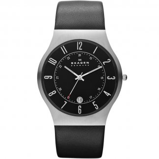 Men's Grenen Black Leather Quartz Watch