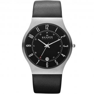 Men's Grenen Black Leather Quartz Watch 233XXLSLB