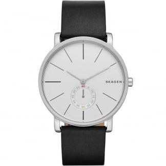 Men's Hagen Black Leather Steel Watch SKW6274
