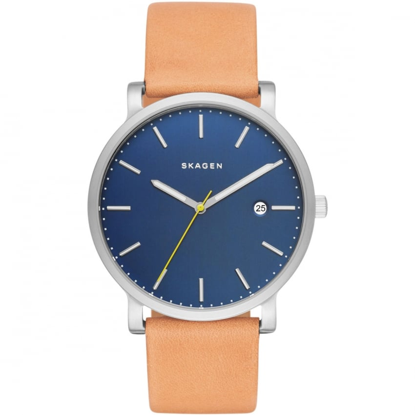 Skagen Men's Hagen Tan Leather Blue Dial Watch SKW6279