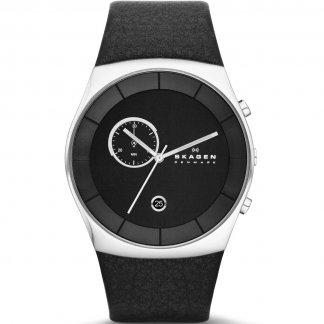 Men's Havene Black Leather Chronograph Watch SKW6070