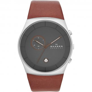 Men's Havene Brown Leather Chronograph Watch SKW6085