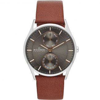 Men's Holst Brown Leather Chronograph Watch SKW6086
