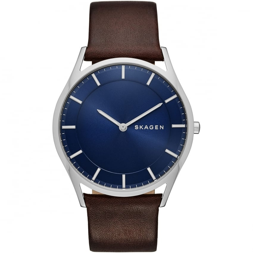 skagen s holst slim leather blue watches from francis gaye jewellers uk