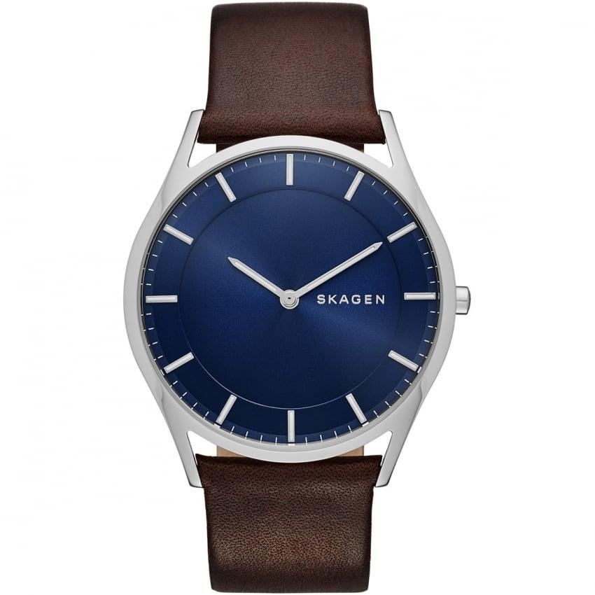skagen s holst slim leather blue watches