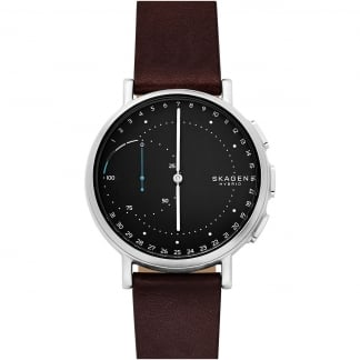 Men's Hybrid Signatur Dark Brown Leather Smartwatch