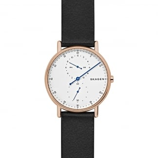 Men's Rose Gold Signatur Black Strap Watch