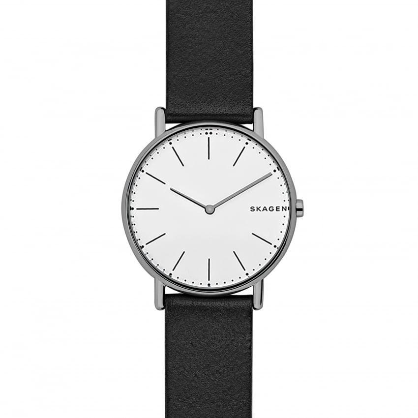 Skagen Men's Signatur Slim Titanium Black Leather Watch SKW6419