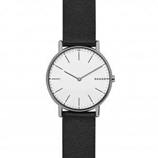 Men's Signatur Slim Titanium Black Leather Watch