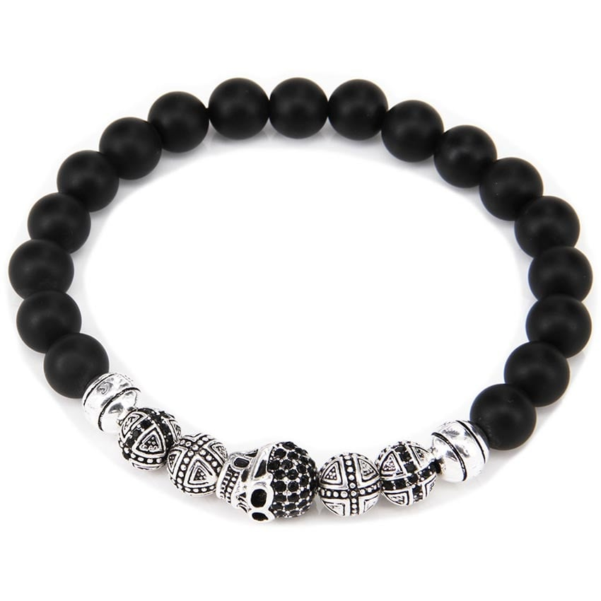 Thomas Sabo Skull & Black Obsidian Beaded Large Bracelet A1099-159-11