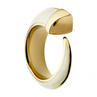 Gold Vermeil & Ivory Enamel Size J Tusk Ring SLS367S