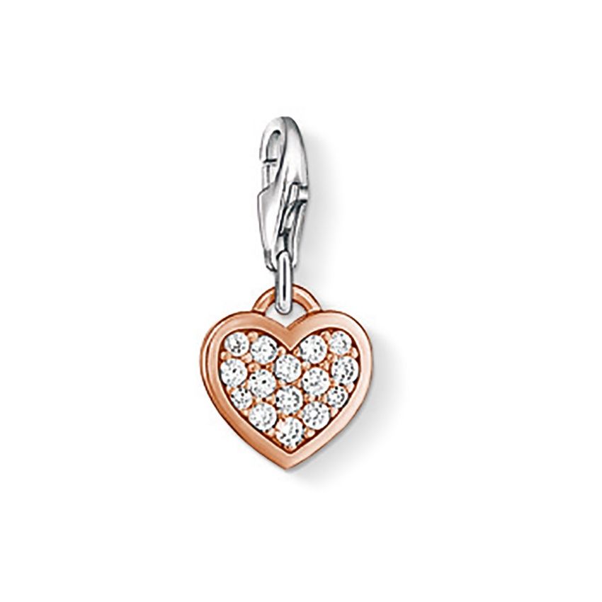 Thomas Sabo Sparkly Rose Gold Heart Charm 0970-416-14