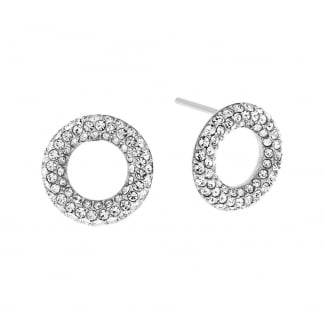Steel Stone Set Circle Earring Studs