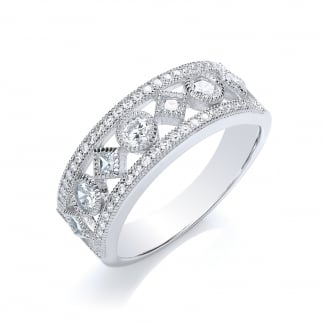 Sterling Silver and Cubic Zirconia Wide Openwork Band Ring