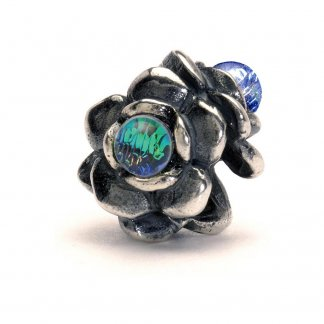 Sterling Silver and Glass Three Flowers Bead
