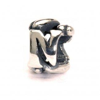Sterling Silver Initial N Bead 11144N