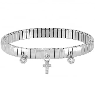 Stone Set Cross Extension Bracelet