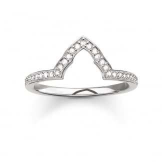 Stone Set Silver Glam and Soul Shaped Stacking Ring