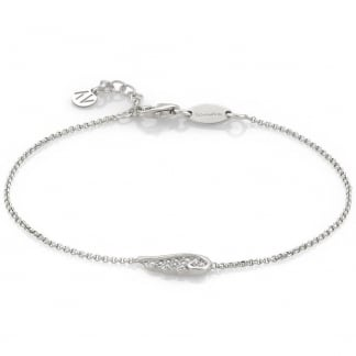Stone Set Single Angel Wing Bracelet