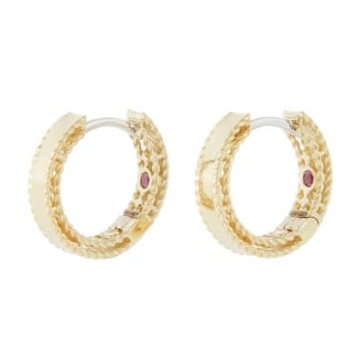 Symphony Yellow Gold Edge Detail Hoop Earrings