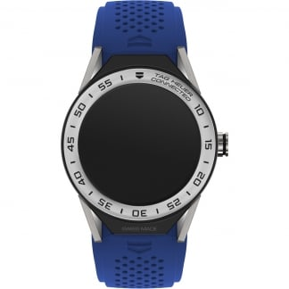 Connected Modular 45 Electric Blue Silicone Steel Bezel Watch