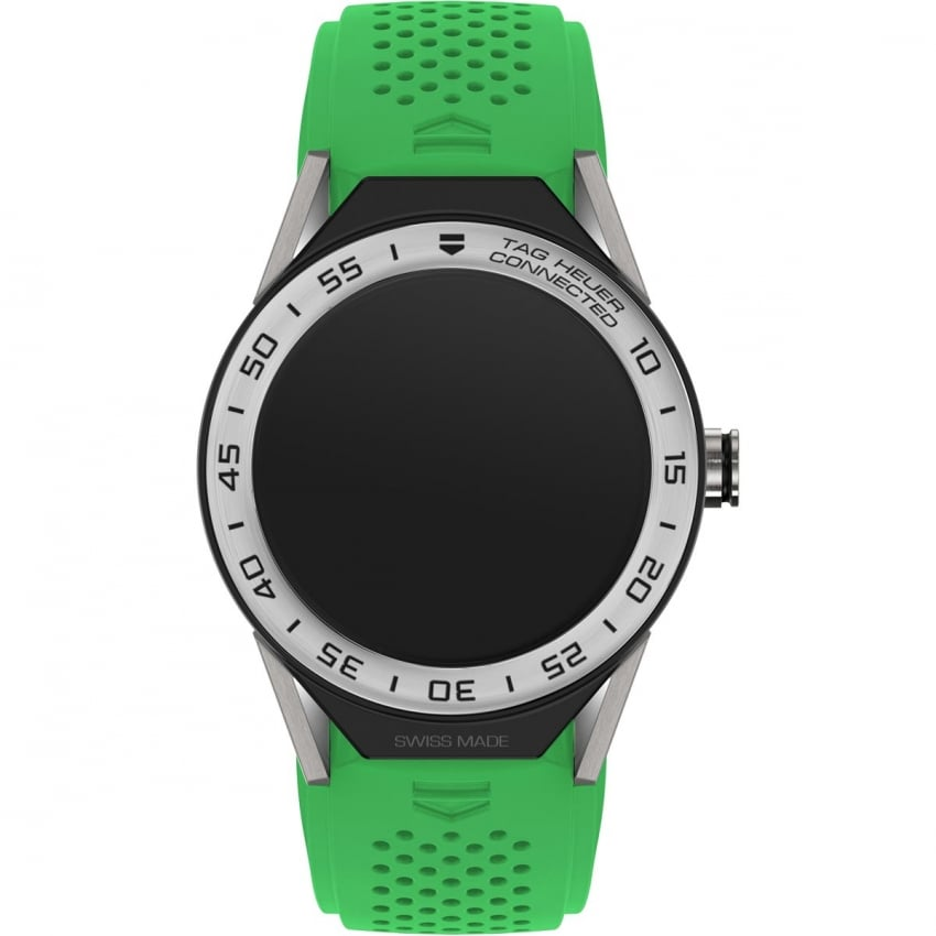 TAG Heuer Connected Modular 45 Green Rubber Steel Bezel Watch SBF8A8014.11FT6076