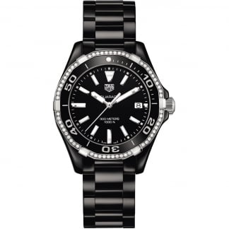 Diamond Aquaracer Lady 300M Full Black Ceramic Watch