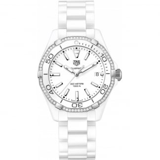 Diamond Aquaracer Lady 300M Full White Ceramic Watch