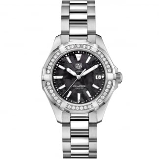 Ladies Aquaracer 300M Black MoP Diamond Bezel Watch