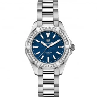 Ladies Aquaracer 300M Blue MoP Diamond Bezel Watch