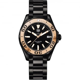 Ladies Aquaracer Black Ceramic Watch With Rose Gold Bezel