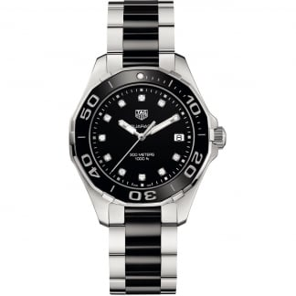 Ladies Aquaracer Diamond 35MM Black Ceramic Watch