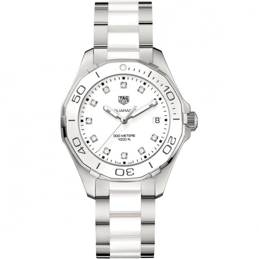 TAG Heuer Ladies Aquaracer Diamond 35mm White Ceramic Watch WAY131D.BA0914