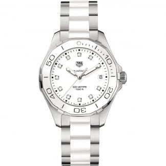 Ladies Aquaracer Diamond 35MM White Ceramic Watch