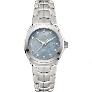 Ladies Blue MOP Diamond Set Quartz Link Watch